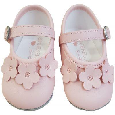 Pantofi roz cu floricele