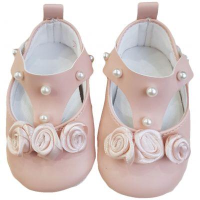 Pantofi roz cu perle
