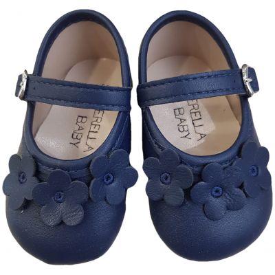 Pantofi bleumarin cu floricele