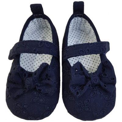 Pantofi din pânză brodată bleumarin