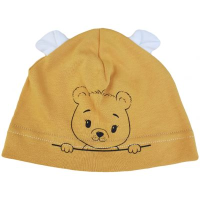 Căciula galben muștar cu imprimeu ursuleț