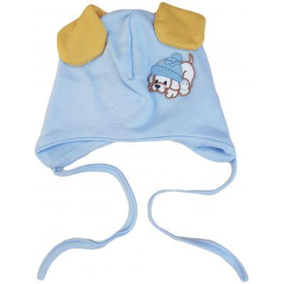 Căciulă bleu cu imprimeu cățeluș cu urechi galbene