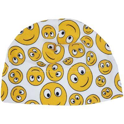 Căciula albă cu imprimeu Smiley Face