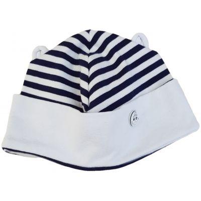 Căciula cu imprimeu marinăresc bleumarin cu alb