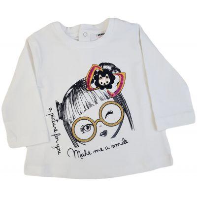 Tricou ivory cu imprimeu fetiță