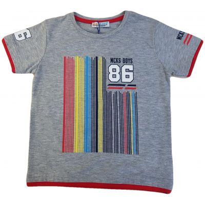 Tricou gri cu dungi colorate