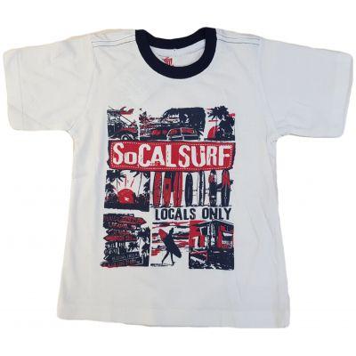 Tricou alb cu imprimeu pe față roșu cu bleumarin
