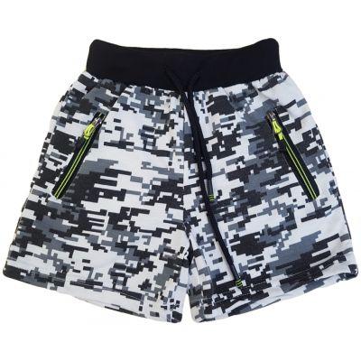 Pantaloni scurți alb cu gri și negru