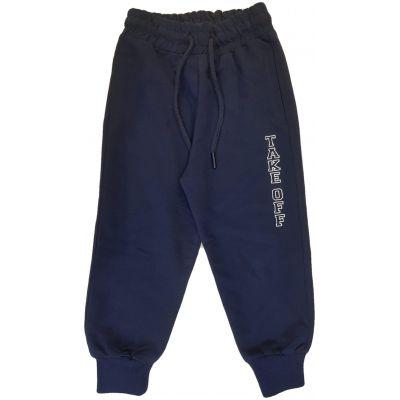 Pantaloni bleumarin cu imprimeu pe un picior