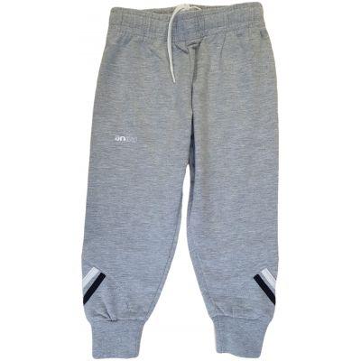 Pantalon gri deschis cu dungi albe și negre