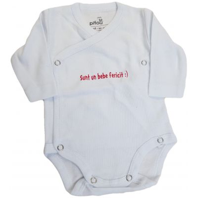 """Body alb cu mesaj """" Sunt un bebe fericit """""""