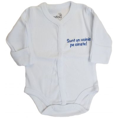 """Body bebe alb cu mesaj """"Sunt un voinic pe cinste"""""""