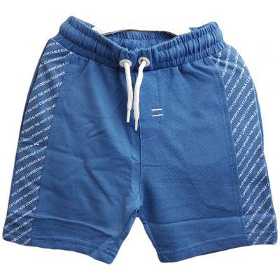 Pantalon scurt albastru cu vipușcă scrisă
