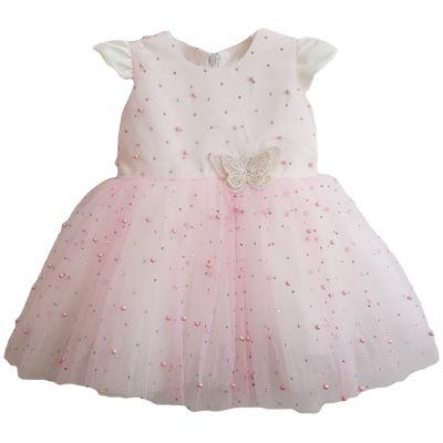 Rochie roz pal cu ștrasuri și perle