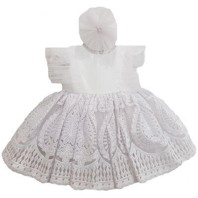 Rochie din satin alb cu dantelă