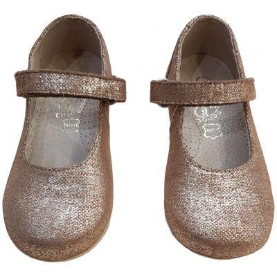 Pantofi pentru fete din piele naturală aurii