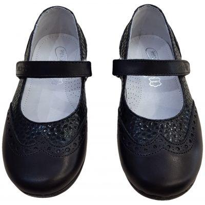 Pantofi din piele naturală negri cu baretă