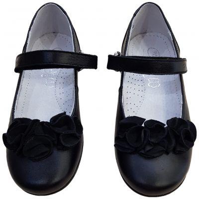 Pantofi din piele naturală negri cu floricele pe față
