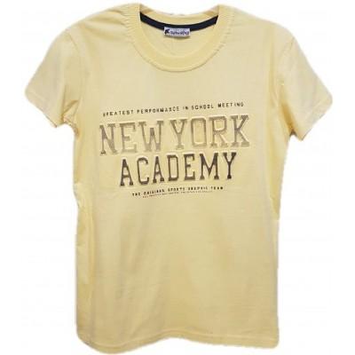 Tricou pentru baieti, cu maneca scurta, de culoare galben pai si inscriptie pe fata cu model  3D