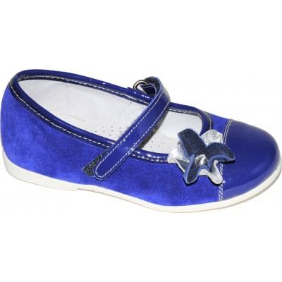 Pantofi din piele intoarsa de culoare bleumarin