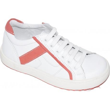 Pantofi sport din piele de culoare alb si cu margini corai