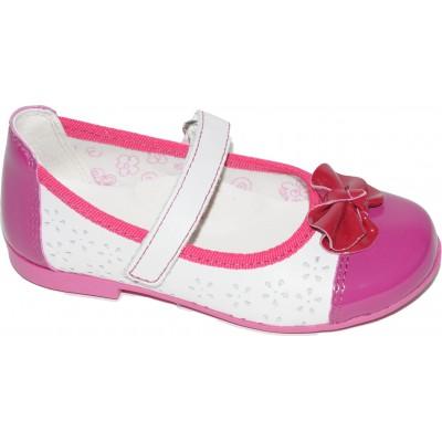 Pantofi pentru fete din piele naturala de culoare alb cu fucsia si funda