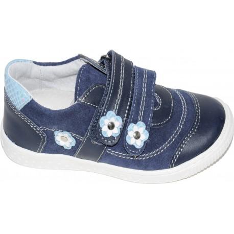 Pantofi casual pentru fete din piele cu velur de culoare bleumarin