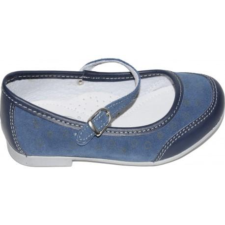 Pantofi pentru fete din piele si velur de culoare albastru cu bleumarin