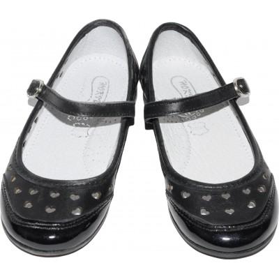 Pantofi din piele lacuita de culoare alb cu negru si inimioare