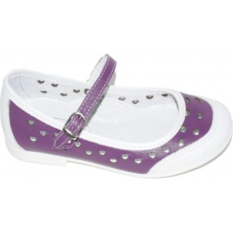 Pantofi pentru fete din piele naturala de culoare mov cu alb si motive cu inimioare