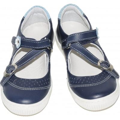 Pantofi pentru fete din piele de culoare bleumarin cu floricele bleu