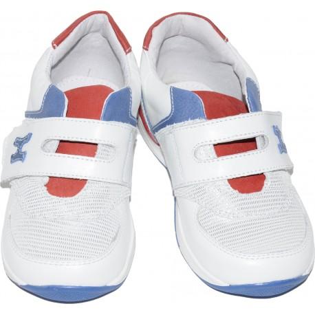 Pantofi sport din piele naturala de culoare alb cu albastru