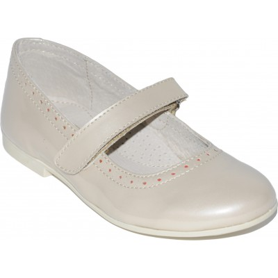 Pantofi pentru fete din piele lacuita de culoare cafea cu lapte