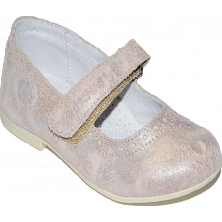 Pantofi din piele de culoare roz pudra cu tente de argintiu