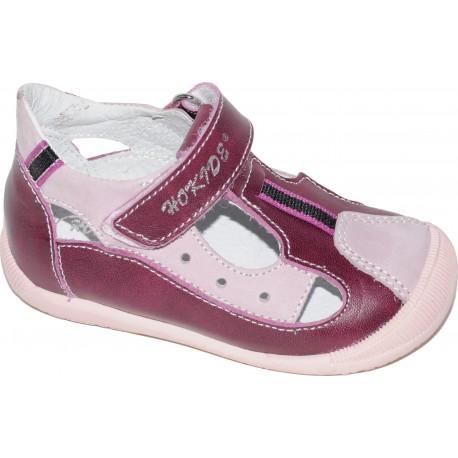 Sandale pentru fete din piele naturala de culoare bordo cu roz