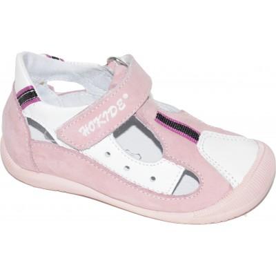 Sandale pentru fete din piele naturala de culoare roz cu alb