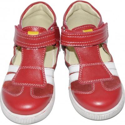 Sandale pentru fete din piele naturala velur si box de culoare rosu