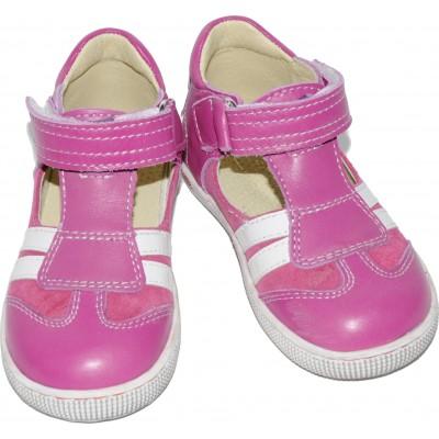 Sandale pentru fete din piele naturala velur si box de culoare roz