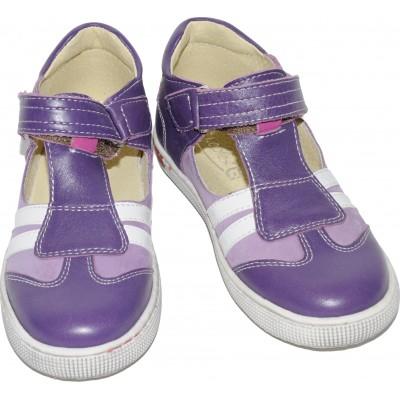 Sandale pentru fete din piele naturala velur si box de culoare mov cu lila