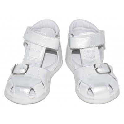 Sandale pentru bebe fete din piele naturala de culoare argintiu