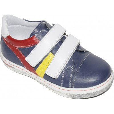 Pantofi sport pentru baieti din piele de culoare bleumarin, rosu si galben