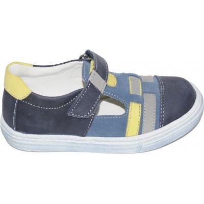 Pantofi sport pentru baieti din piele naturala de culoare bleumarin