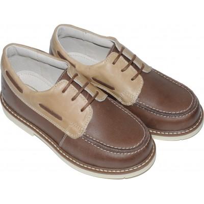 Pantofi  pentru baieti din piele naturala de culoare maro cu crem