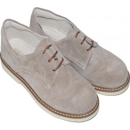 Pantofi din piele velur de culoare camel