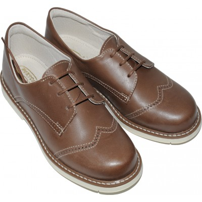 Pantofi pentru baieti din piele de culoare maro