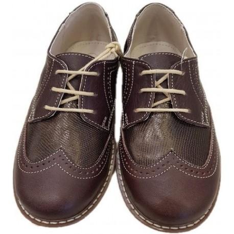 Pantofi pentru baieti din piele naturala de culoare coniac