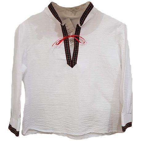 Ie traditionala stilizata pentru baieti cu guler tunica si maneci de culoare rosu, grena, albastru si galben