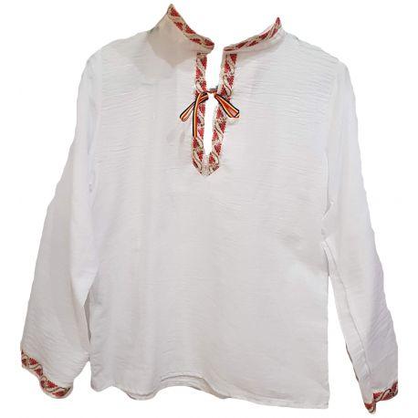 Ie traditionala stilizata pentru baieti, guler tunica si maneci de culoare rosu si auriu