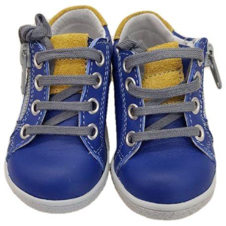 Pantofi baieti, model sport ,din piele naturală,albastri cu galben si verde, inchidere fermoar si sireturi
