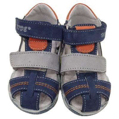 Sandale baieti,din piele naturală ,inchidere cu doua clapete, bleumarin cu gri si orange